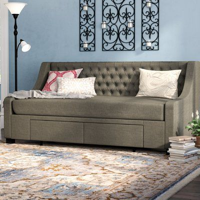 Darby Home Co Aron Twin Upholstery Storage Daybed Color Gray in