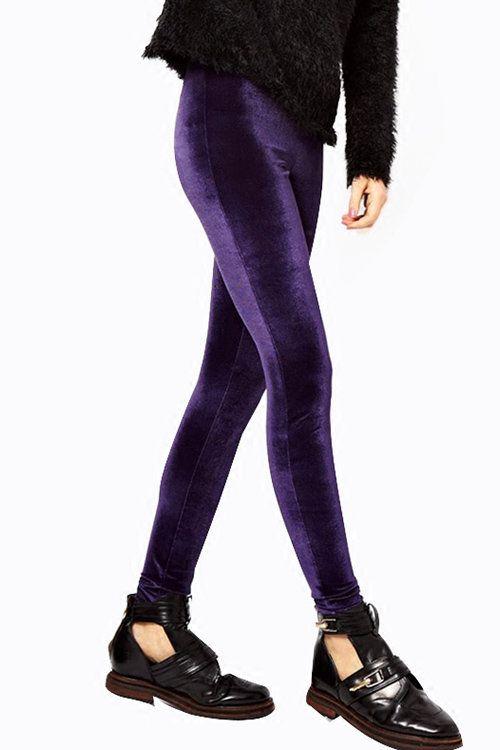 Leggings de terciopelo de terciopelo púrpura - US$13.95 -YOINS