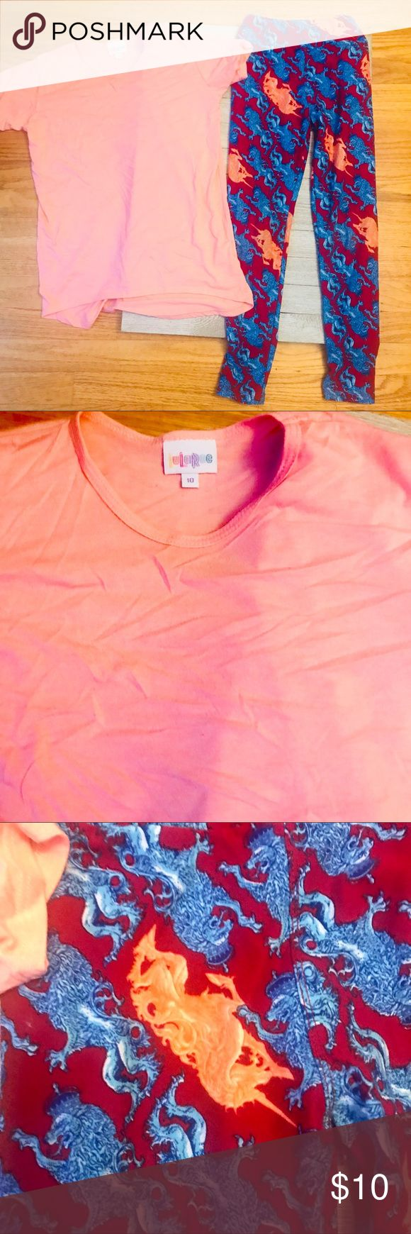 LuLaRoe Girls top sz 10 and tween leggings set LuLaRoe bright peach top, size 10, and printed leggings in size Tween. Both in good used condition with some normal light pilling. Both hung to dry. LuLaRoe Bottoms Leggings
