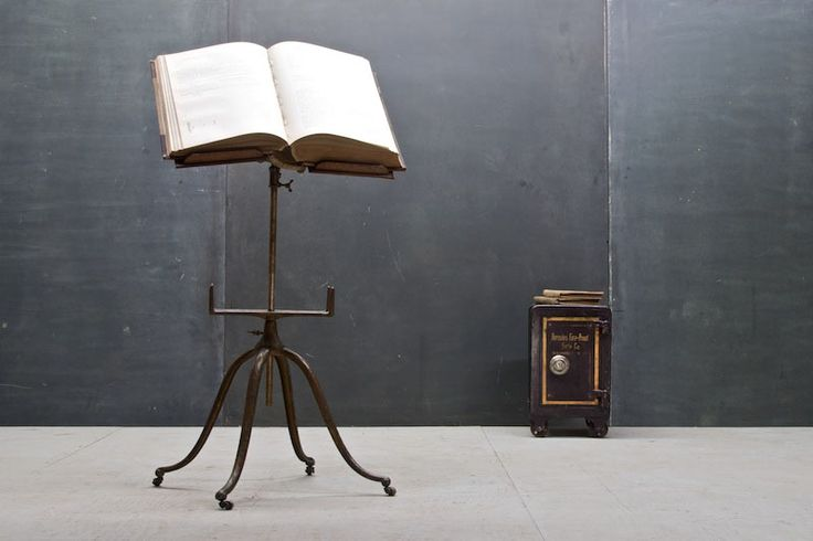 Victorian Cast Iron Oak Book Stand : 20th Century Vintage Industrial Modern50 Style