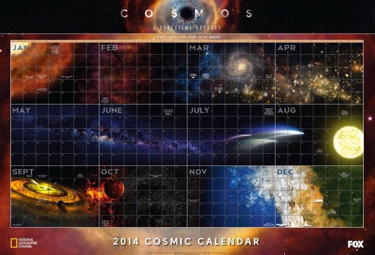 Calendar Poster Maker : Cosmic calendar from the cosmos history of