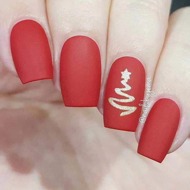 Matte Red Holiday Nails beautifulnails