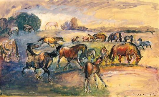 Kernstok Károly (1873-1940) Lovak a vízparton Akvarell, tus, papír, 42x68 cm