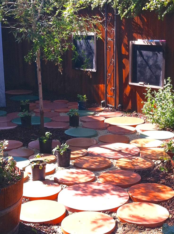 Playful polka dot patio designed for a children's garden