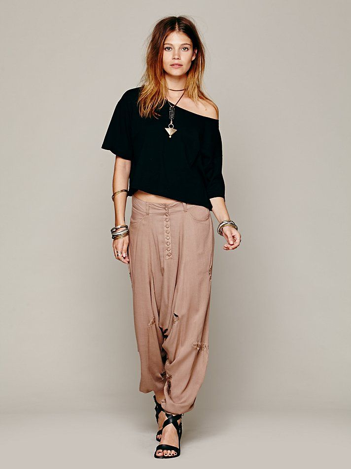 Free People Unchained Harem Pant, 128.00louchy harem pants with distressed thread detailing throughout. Features a button-up fly, two front pockets, and elasticized pant cuffs.