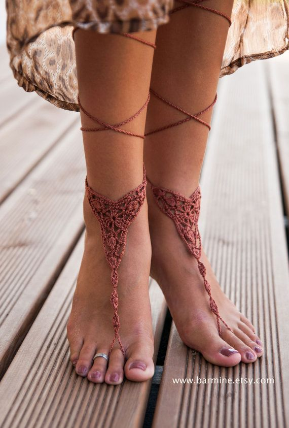 Crochet Brown Barefoot Sandals Nude shoes Foot jewelry by barmine