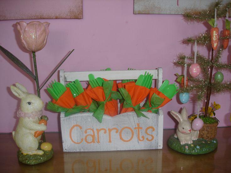 Easter Carrot Cutlery In box stencilled using Cricut Alphalicious Cartridge