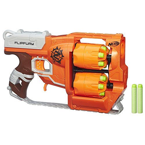 Nerf Zombie Strike Flip Fury Blaster - Load up both drums with the included 12 Zombie Strike darts and hit the streets to wipe out those lurching, staggering zombies.
