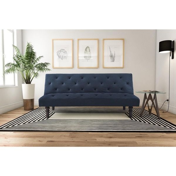 The Soft Velour Fabric, Classic Diamond Tufted Design And Wood Scroll Legs  Provide Both High Fashion And Comfort. The Avenue Greene Orfino Futon Can  Be ...