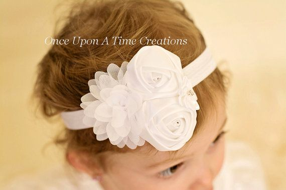 Pure White Satin Headband  Baby Girl Holiday by OnceUponATimeTuTus, $6.99
