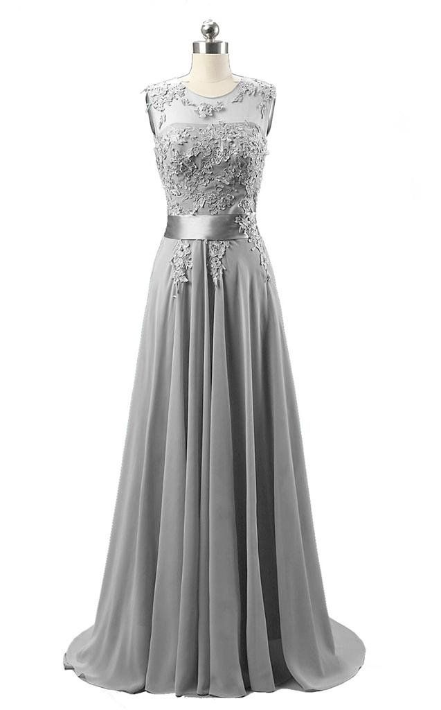 kmformals Women's Long Lace Prom Evening Dresses Size 18 Silver