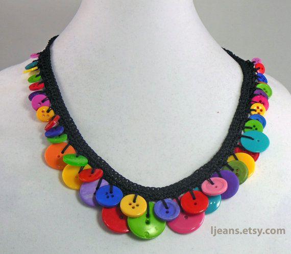 Vivid Crochet Button Necklace