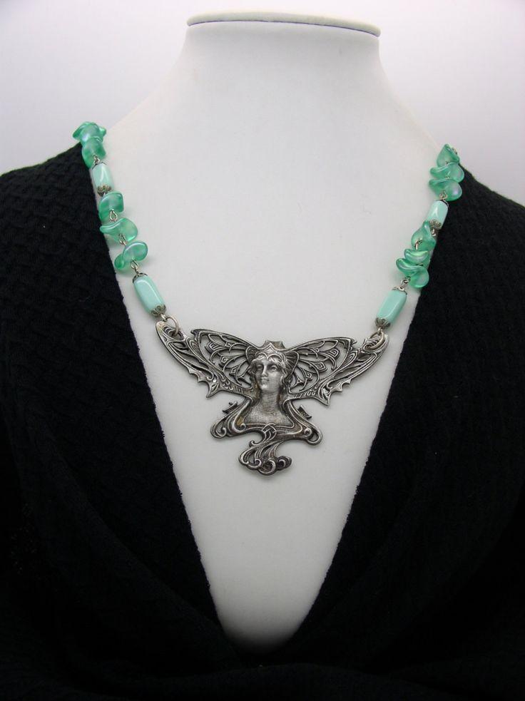 NECK  6 Art Nouveau Necklace Lady Butterfly by ClassOfGlass on Etsy