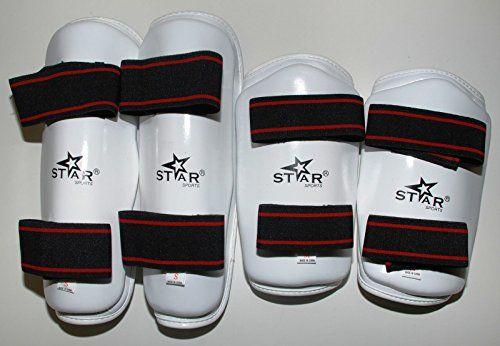 "Star Sports Taekwondo Gear Shin Protector+ Forearm Guard Martial Arts Sparring Gear:   All Sizes Avilable Forearm guard Length XS=8.25"" S=8.75"" M=9.75"" L=10.25"" XL=11"" Shin Guard Length XS=13"" S=13.5"" M=14"" L=15"" XL=15.75"""