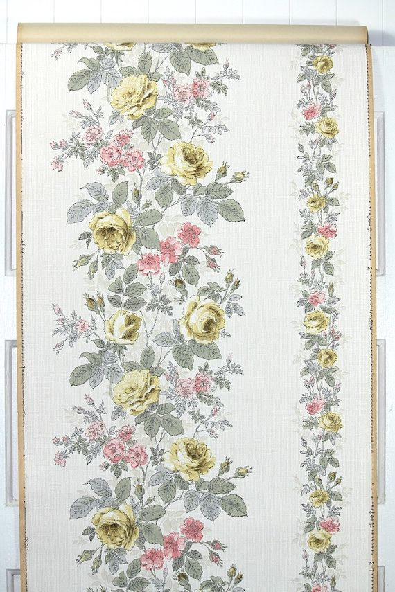 1950s Vintage Wallpaper Yellow Roses Pink by HannahsTreasures