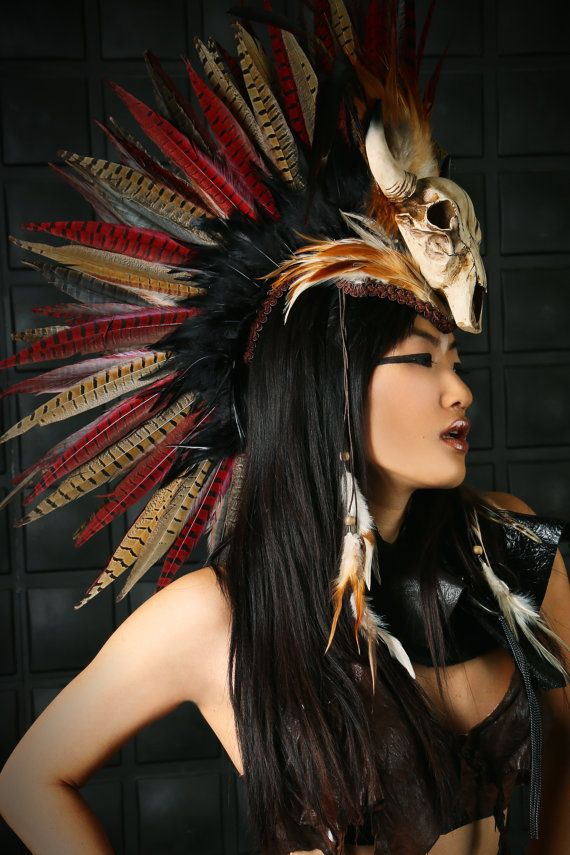 Headdress / Feather Mohawk/ Warrior Headdress/ Burning Man Headdress/ Horned Headdress/ Tribal Headdress/ Skull Headdress