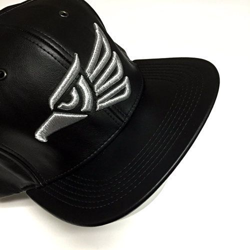 City Hecho En MEXICO Faux Leather Embroidered Flat Snapback Black/Silver Hat