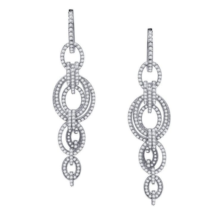 Lafonn sterling silver platinum plated multi drop earrings set with 4.78 carat in simulated diamonds - $545.00 #PoagWishList