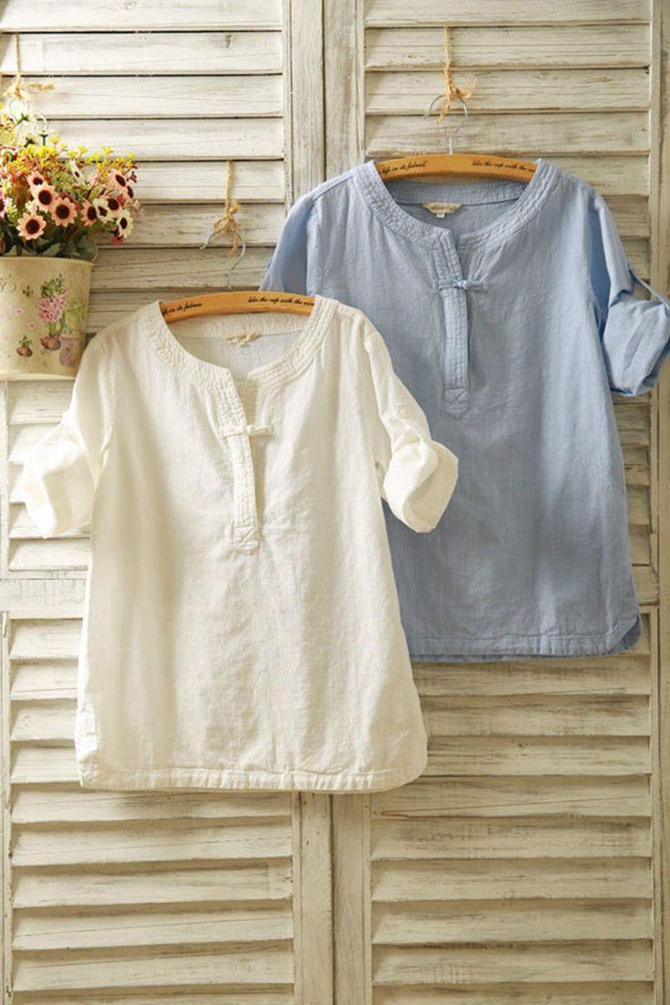 Ladies Casual Linen Cotton Shirts Tops Plus Size Blouse Baggy Tee T-Shirts Plain