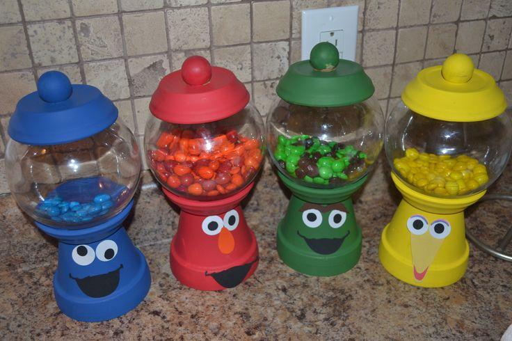 Sesame Street characters candy jars diy