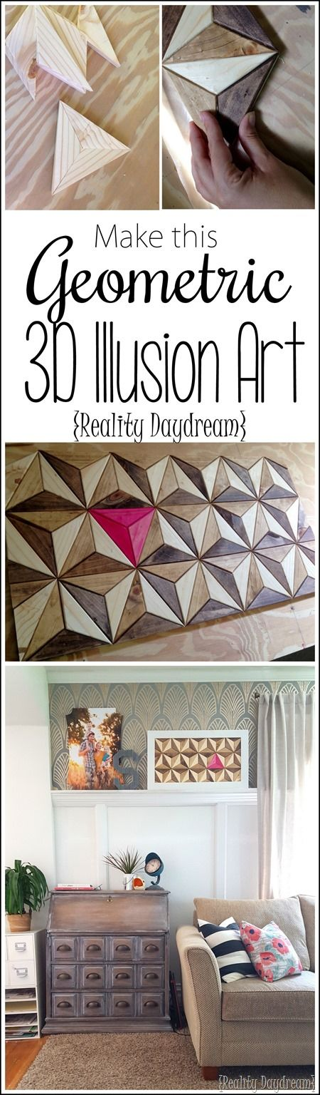 TUTORIAL for making this Geometric 3D Illusion Artwork out of wooden triangles! {Reality Daydream}