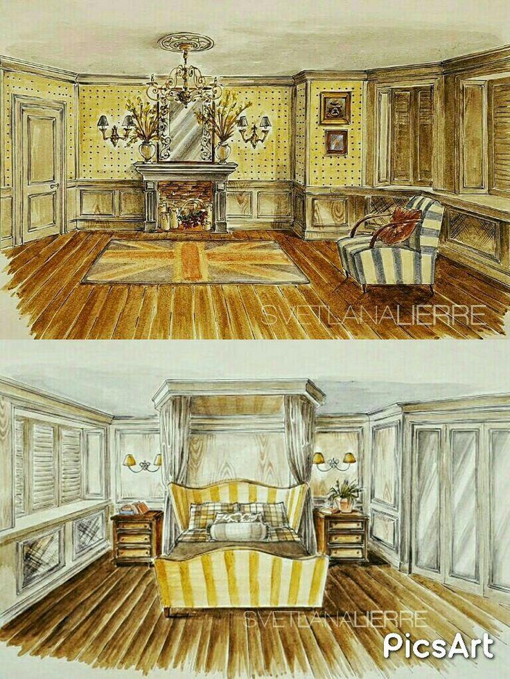 English style bedroom. Watercolour interior illustration.