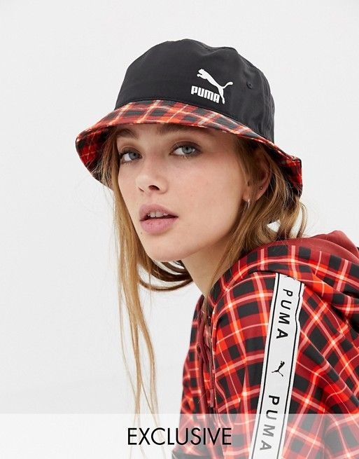 1e6b3613 Puma exclusive red check bucket hat | Outfits | Hats, Bucket hat, ASOS