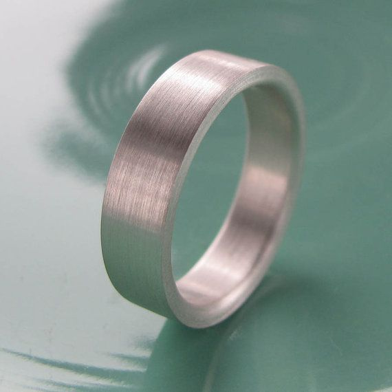 Men's Comfort Fit Silver Wedding Band 6mm x 2mm  by AideMemoire, $100.00