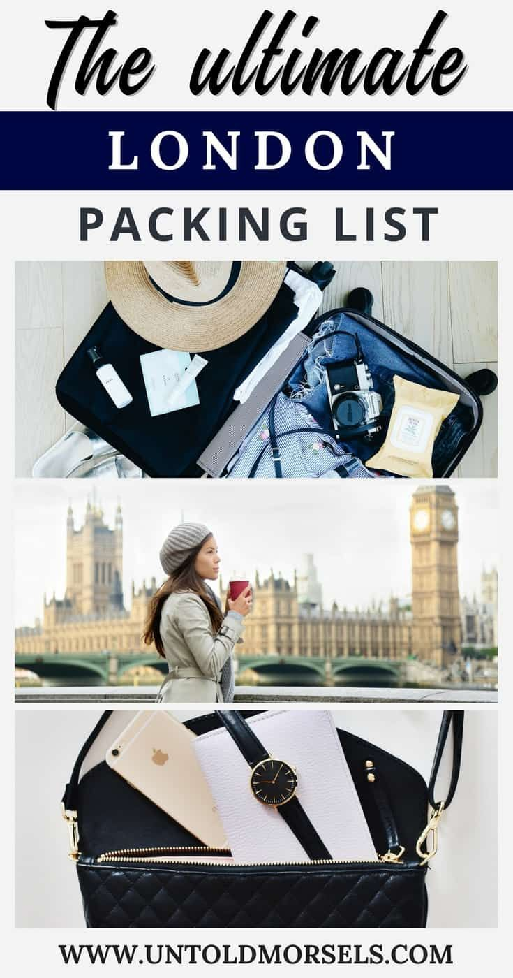London travel packing list - get ready for your trip to London with the ultimate travel packing list for London. Includes - London trip essentials, capsule wardrobe for London, beauty items for your London trip and tech gear to make the most of your London trip via @untoldmorsels