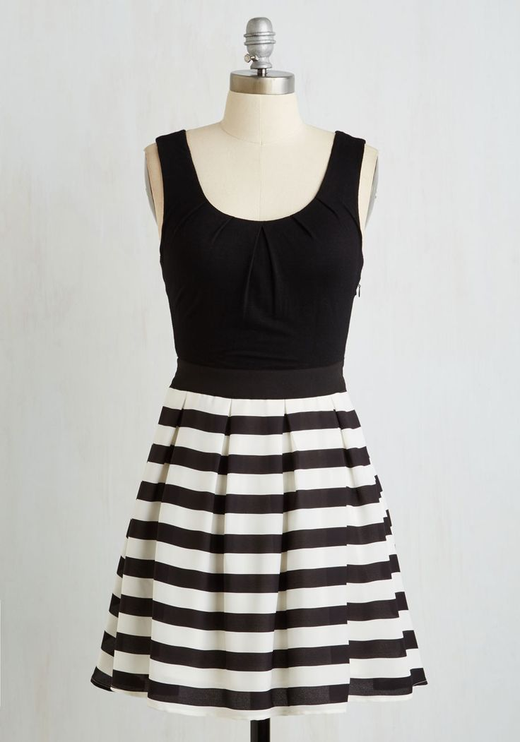 Stripe Cast Dress. Amid an entire wardrobe of lovely frocks, this black and white dress stands out because of its irresistible character! #black #modcloth