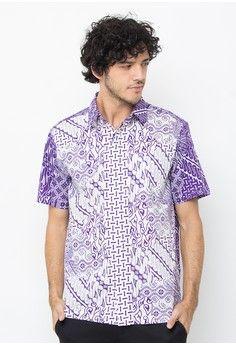 Pria > Batik > Pakaian Print > Atasan > Pradawita Kemeja Batik DwiWarna -Ungu > Pradawita