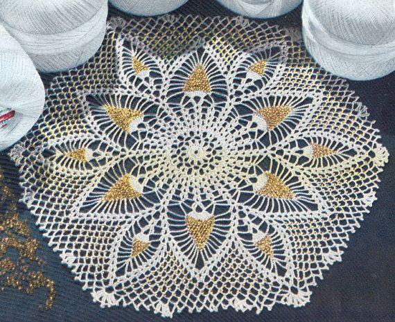 1950's Pineapples and Beads Doily Vintage Filet Crochet Pattern PDF 222