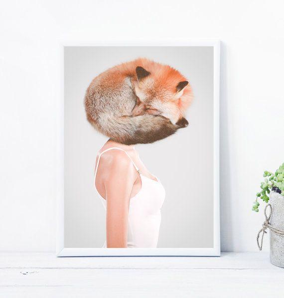 Scandinavian print printable wall art of a fox par LionartPrints