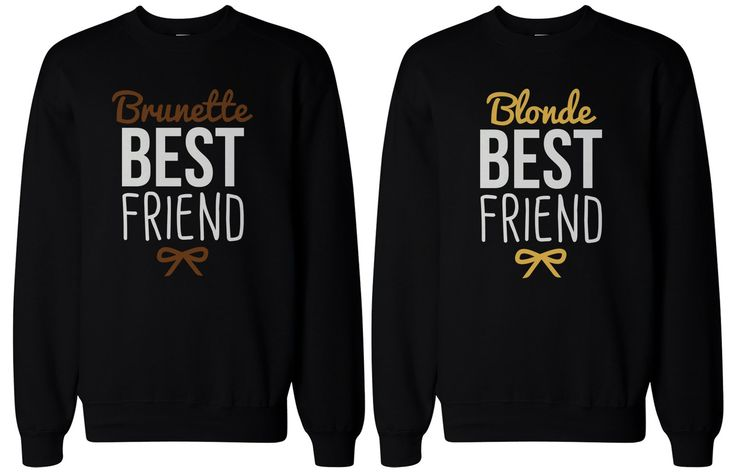 Cute Brunette and Blonde Best Friend Matching BFF Pullover Sweaters