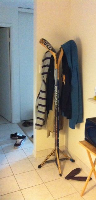 Hockey stick coat rack - if I get enough broken hockey sticks!