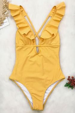 4a7aa2bc4259a Heart Falbala One-piece Swimsuit | Bikini set ; swimwear in 2019 ...