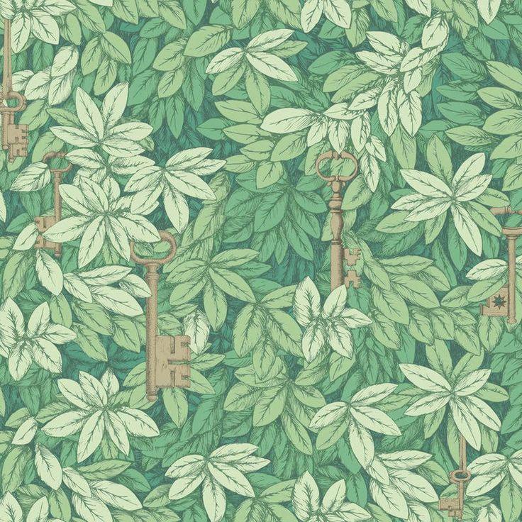 papel pintado chiavi segrete en color verde telas u papel