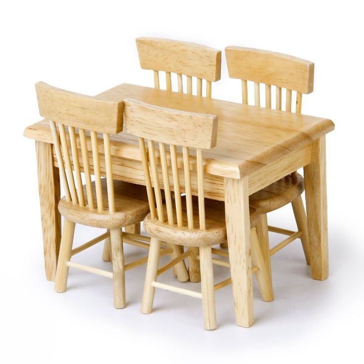5pcs/set 1/12 Dollhouse Miniature Furniture Great Children Gift Primary Wooden Color Wooden Furniture Dining Table Chair