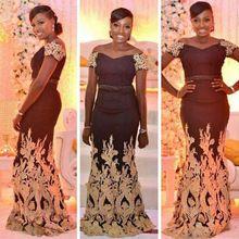 Ancara Nigeriano africano Ouro Apliques Evening Vestido Longo Sereia Vestidos de Noite 2017 Plus Size Elegantes Vestidos de Noite Longos alishoppbrasil