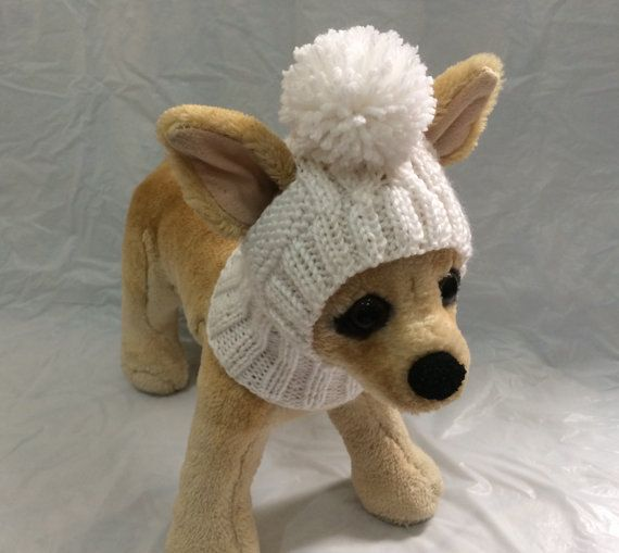 Pet Clothes Apparel Winter Outfit Knit Dog Hat for Small Dogs Hand Knit (not crocheted!) White Hoody Snow hatXS Size Nice Gift