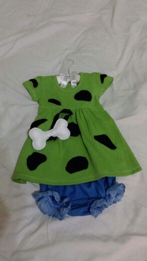 """I enjoyed making a Halloween """"Pebbles"""" costume for my 3 month old grandbaby. All in a budget of $10 bucks .."""