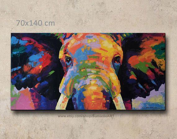 Uber Das Produkt Dieser Artikel Ausdruckliche Lieferzeit Dauert 7 10 Tage Bunte Abstrakte El Elephant Painting Colorful Elephant Elephant Painting Canvas