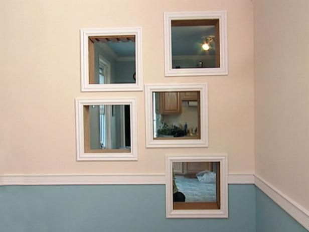 How To: Framing Mirrors with Crown Molding. A bad, boxy room gets new life with cool new architectural details.