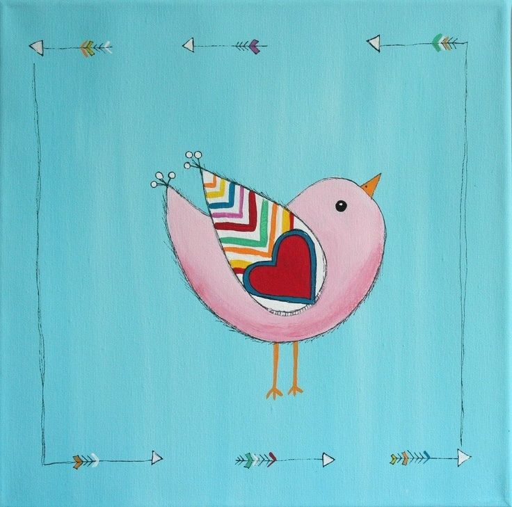 Cute little bird canvas paint idea for wall decor. Pink bird with a heart. Valentine's. canvas painting.