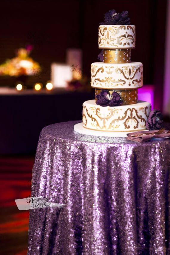 Lavender Round Sequin Overlay  Tablecloth for Purple Wedding Cake table Events Bridal Shower decor by Arcadia Designs