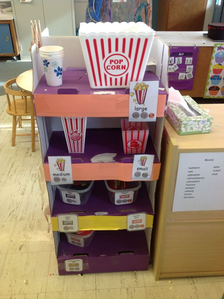 Movie theater at Pleasant View Preschool - popcorn (small, medium, large) and candy at the theatre