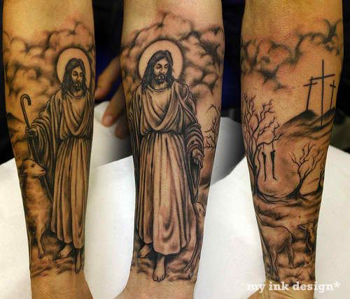 Tattoo Ideas Christian: Nice Religious Half Sleeve