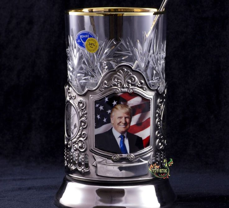 TEA GLASS HOLDER DONALD TRAMP US PODSTAKANNIK CRYSTAL GLASS BEST GIFT #Colchuginovs1viktor