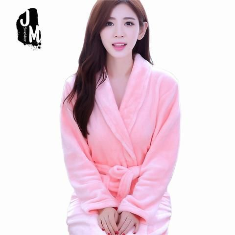 New Woman Winter Robe Pajamas Thickening Flannel Long Sleeve Lovely Pink Bathrobe  Bridesmaid Robes Dressing Gown 573998ae6