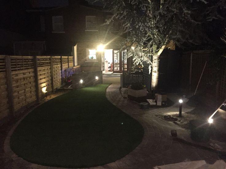 Garden lighting from garage end